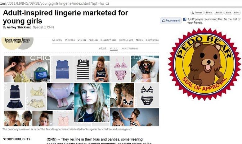 Hot Lingerie for Kids. I thought those Bratz dolls were bad enough. oung.girls.lingerie/index.html?&hpt= hp_c2. lingerie clatter an M Prent you g I rls shae cnn pedobear Lingerie girls young WTF