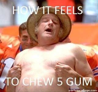 How it feels to chew 5 gum. .. WATER SUCKS!