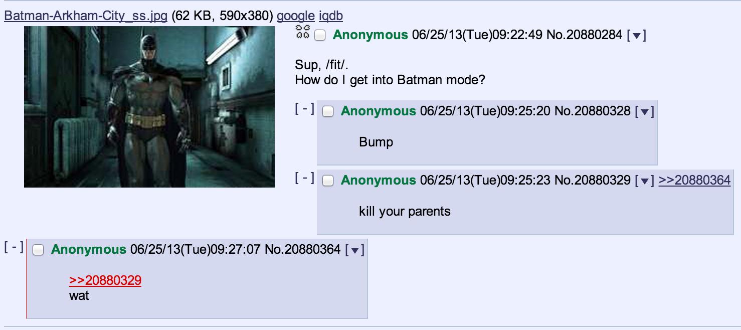 How to be Batman. source: on.fb.me/12YvYMD. 55499 (62 KB, 590x380) mangle iqdb Sup, Ntl. How do I get into Batman mode'? Bump kill your parents wat 1 I Anonymou