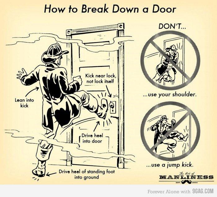 """HOW TO KICK DOOR DOWN. . How Break Down Cl Door Kick nutnut lack, teii] :3; lack Mali ii"""" sibiria: j, thi] Drive heel of standing Fuel into ground """"? aba EHW. What really happens"""