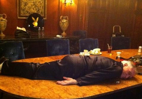 Hugh heffner planking. ur argument is invalid.. Umm, guys? I think he's dead.