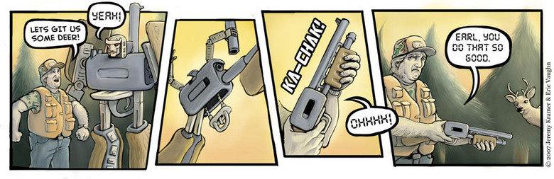 Hunting Transformer. Hunters gun transformed.
