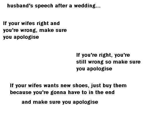 Humorous Wedding Speech by the Groom :: Wedding Toasts Roasts Speeches