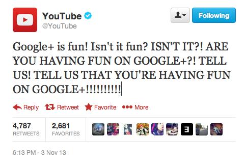 I am having fun on Google+. . El Youtube' In is fun! Isn' t it fun? ISN' T IT?! ARE YOU HAVING FUN ON GOOGLEE?! TELL US! TELL US THAT YOU' RE HAVING FUN In Repl