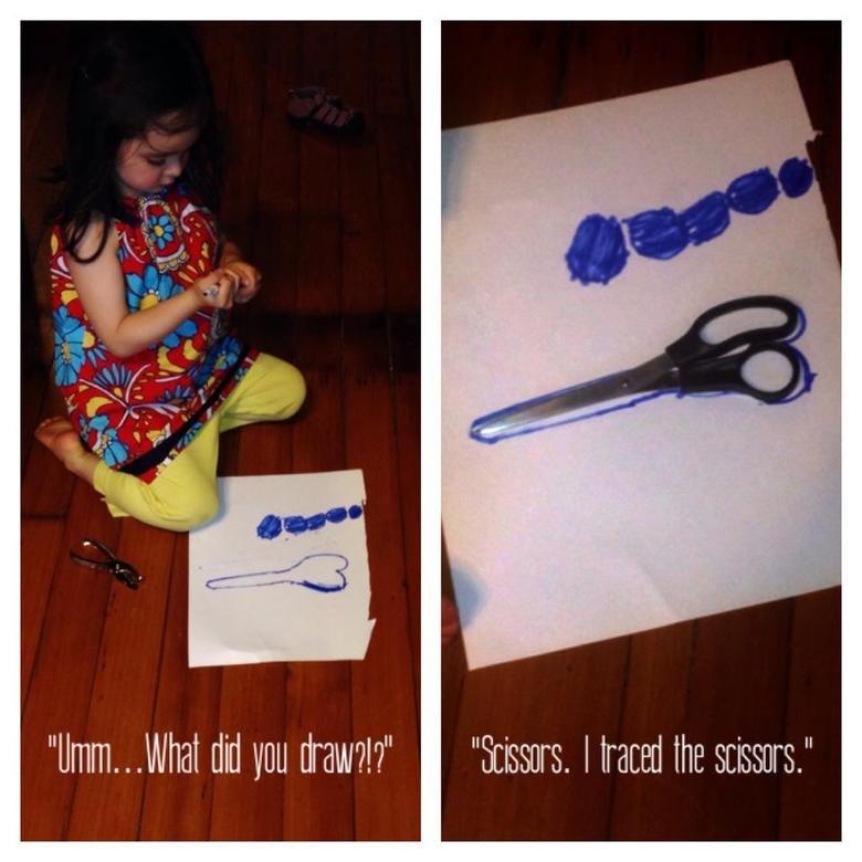 "I drew scissors. So innocent.. What pl draw?"" ""Scissors. ward the ."""
