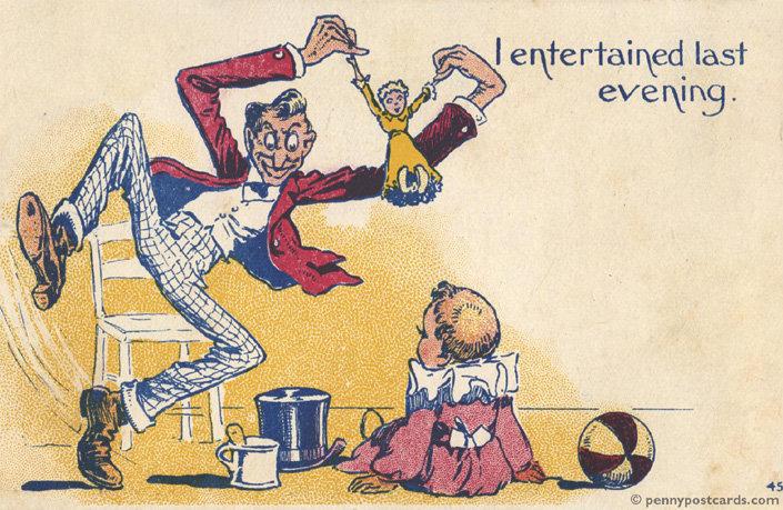 I entertained last evening. creepy old postcard. penury outwards. eom postcard creepy