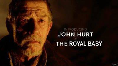 I'll bet that hurt. . JOHN HURT TH E ROYAL BABY EEC. I guess you could call him... a fresh prince