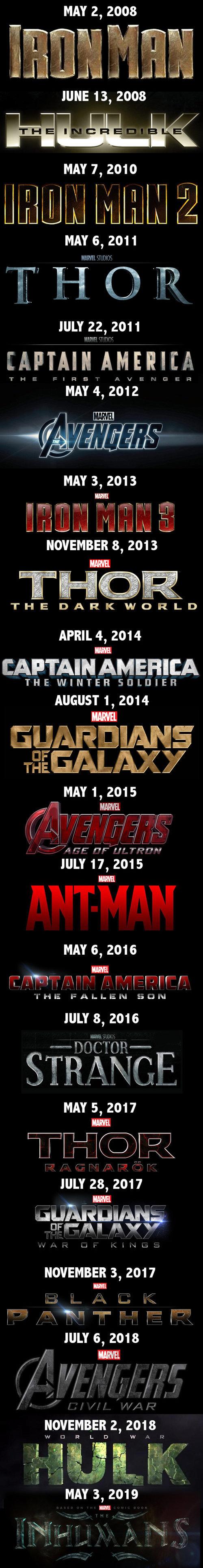 I love Marvel movies. . MAY 2, 2008 JUNE 13, 2008 MAY 7, 2010 MAY 6, 2011 JULY 22, 2011 MAY 3, 2013 NOVEMBER 8, 2013 APRIL 4, 2014 THE WINTER ] LI] IEH AUGUST 1