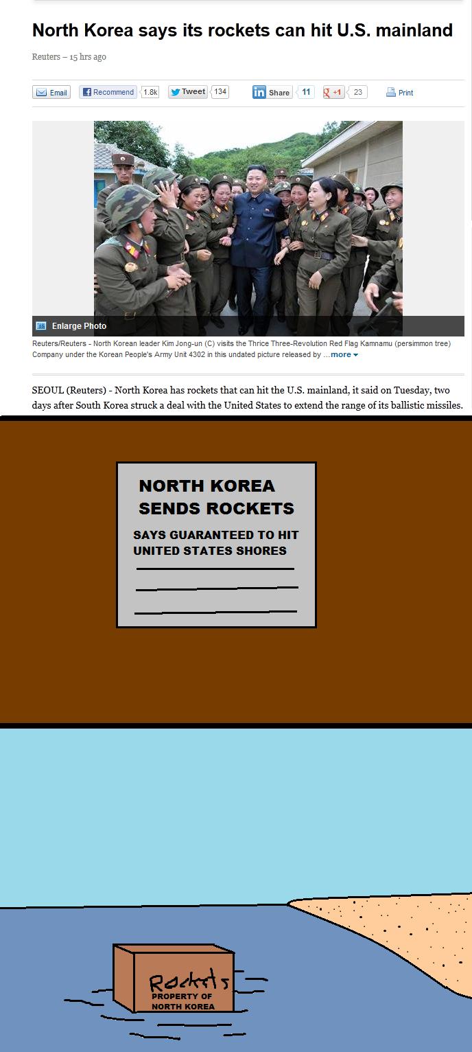I'm Terrified. . North Korea says its rockets can hit U. S. mainland Reuters - 15 hrs ago 1. thweet 134 Broham 11 QM 23 truprint E Enlarge Pototo Reuters/ Reute