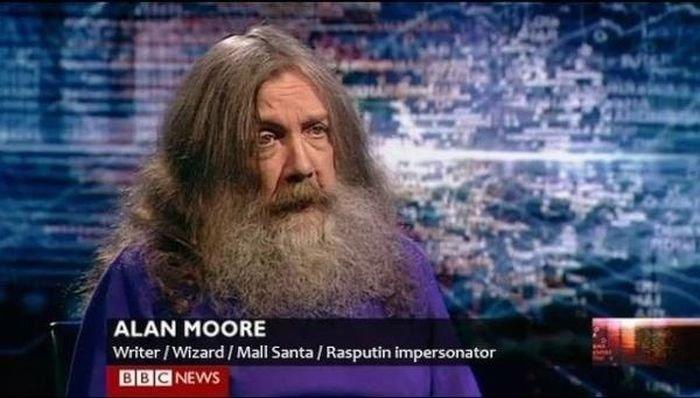 I want to be this guy. Rasputin? Awesome.... ALAN MOORE Writer I Wizard I Mall Santa I Ra shutin impersona tor IE NEWS. I had an erection when I saw his face. When I saw his various jobs my erection got harder.