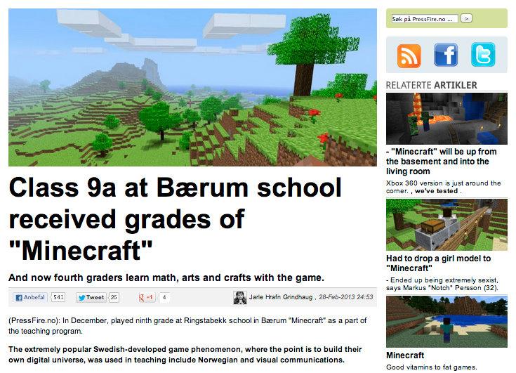 I was born too early.. Link to article: www.pressfire.no/nyheter/PC/6614/Klasse-9a-ved-Brum-skole-fikk-karakterer-i-Minecraft Google Translate, warning to gramm OC