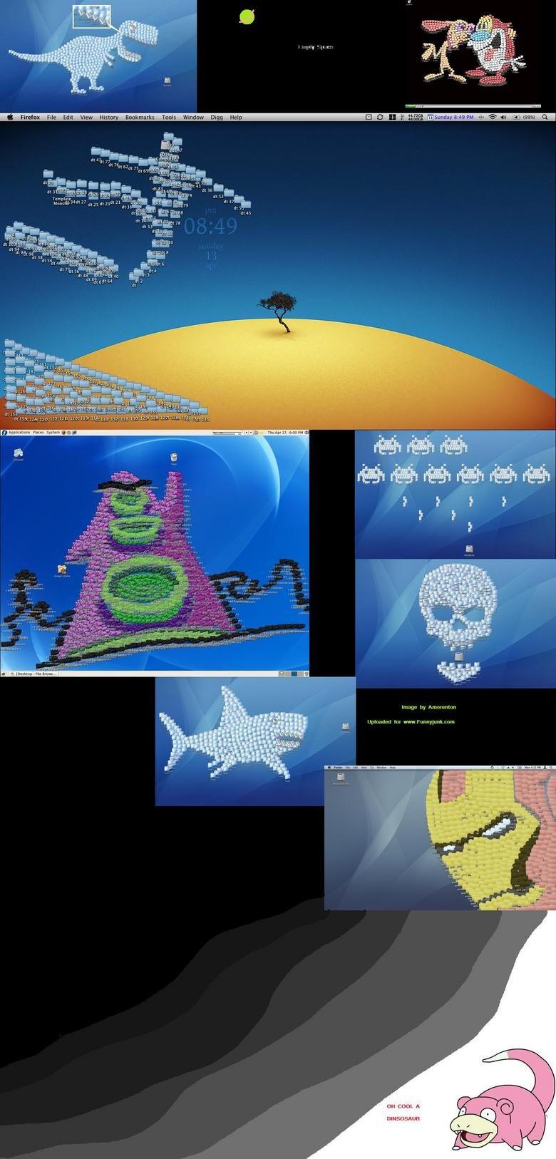 Icon Art. Cool desktop art done with icons.. aw History Bookmarks Tools mam V tit ISR my 122 um um um 1 gmw. mg. System 363 Hmcmu womo; Image try Amoranlan Uplo icons desktop Art