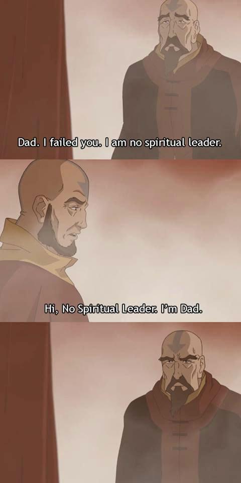 "If Aang was a real father. . Dad. I faile' ilgili"" iia!!, I] am no spiritual leader.. Will Korra also grow a majestic beard as she gets old?"