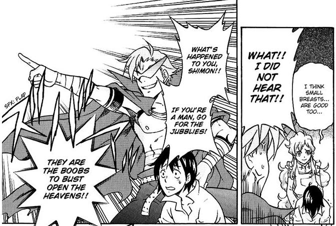 If you're a man.... Manga:Tengen Toppa Gurren Lagann: Yoko no Obeso-hen.