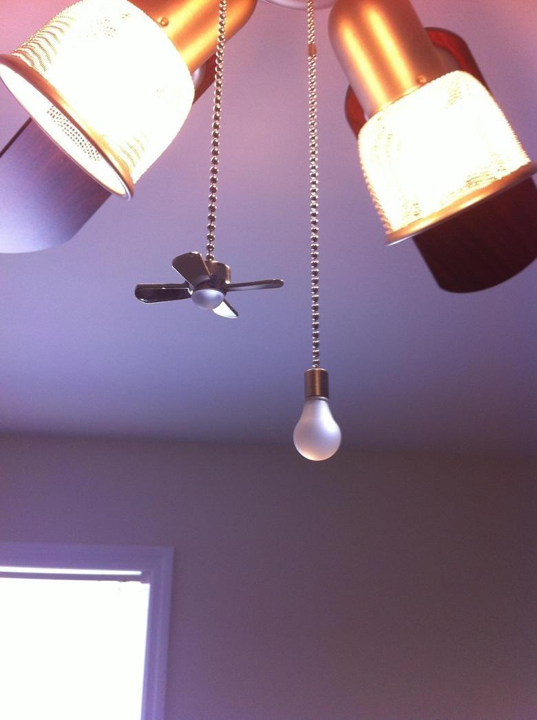 Intelligent title. Lightbulp to turn on ceiling fan, Ceiling fan to turn on light..
