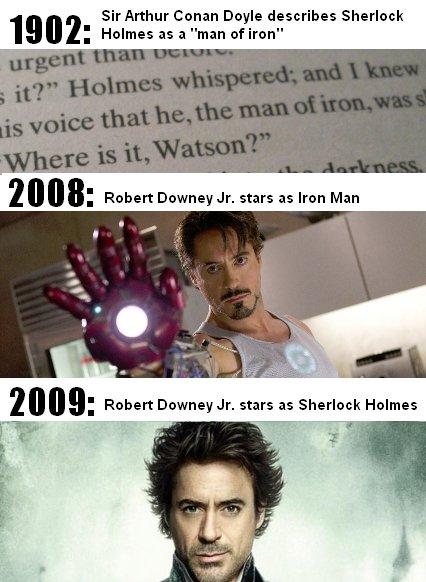 "Iron Holmes. yup. 19 l h' Sir Arthur Conan Doyle describes Sherlock h' l l , Robert ""' Jr. stars as Iron Man. 2011 - I don't give a"