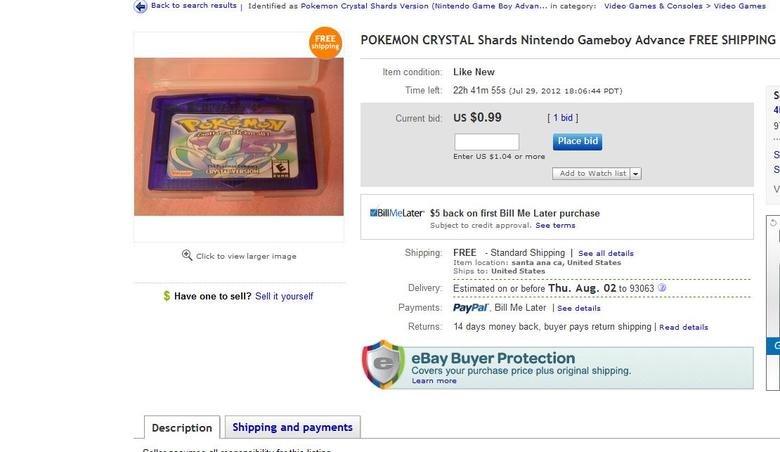 Is dis nigga serious?. www.ebay.com/itm/POKEMON-CRYSTAL-Shards-Nintendo-Gameboy-Advance-FREE-SHIPPING-/271026221866?pt=Video_Games_Games&hash=item3f1a6bf32a
