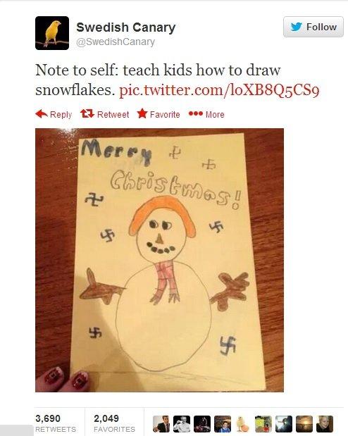 It's a good christmas.. Source: twitter.com/SwedishCanary/status/408591220860911617/photo/1. Swedish Canary I Follow Note to self: teach kids how to draw snowfl