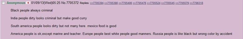 Japanese people aren't racist. . Black people always criminal India people dirty leeks criminal but make good curry South america people leeks dirty but not man