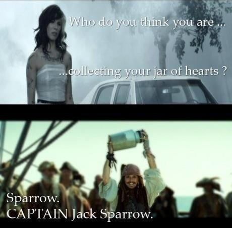 Jar of hearts. . CAPTAIN Jack Sparrow.
