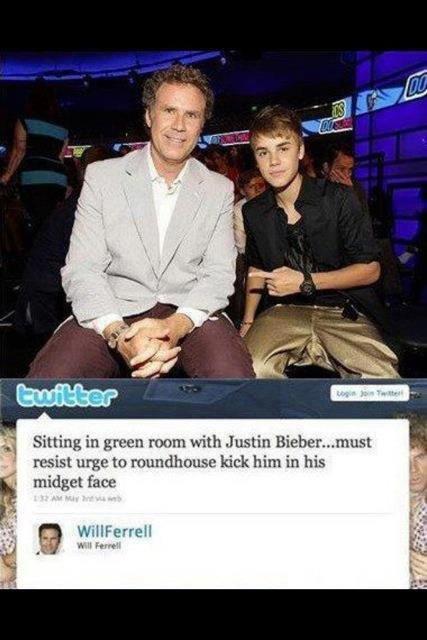 J.B.. haha wil ferrel!!!. Sitting in green roam with Justin ... must resist urge to 1' , kick him in his midget has w u Iam'