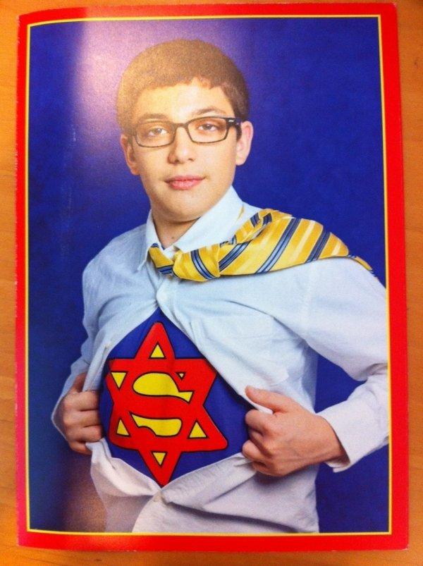 JEWPERMAN. Found here: www.dorkly.com/picture/51652/super-bar-mitzvah.. superjew is that hard? Superman jewish