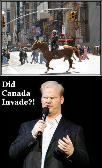 Jim Gaffigan's views on horseback cops. . Did Canada Invade?!