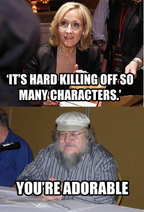 J.K. Rowling vs. George R.R. Martin. .. enlarge funny