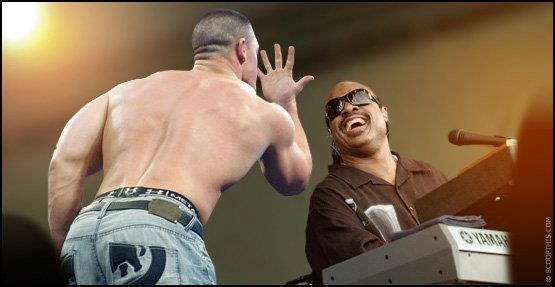 John Cena vs Stevie Wonder: cant see me. let the racist jokes begin.