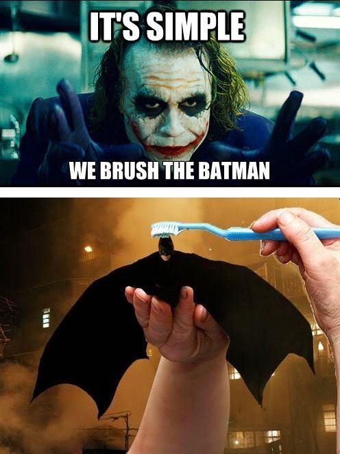 Joker's Plan. . brush The Batman Its simple we brush dark knight Toothbrush cape humor joke funny meme