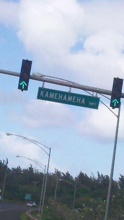 Kamehameha Highway. Located in Northern Oahu, Hawaii. Took this a few days ago.. I knew the story behind Kamehameha's name, but still. KAMEHAMEHA dragonballz