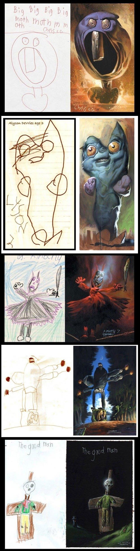 Kids realistic drawings. .