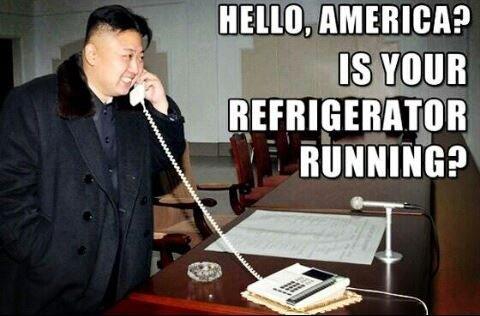 Kim jong un calling America. .. No its walking