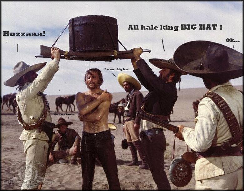 King BIG HAT. Described... ┌( ಠ_ಠ)┘. All hale king BIG IDIET u. hail