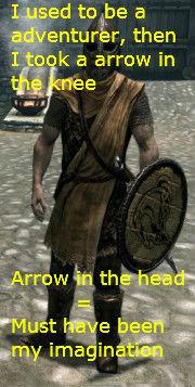 Knee and head. thumb pleeeease!. skyrim arrow Head cool cool story bro