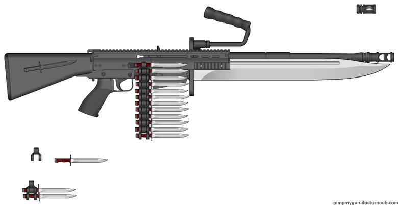 Knifegun. The continuation saga. Hum III II. so how do you stab someone when the barrel is in the way Knifegun saga part  II