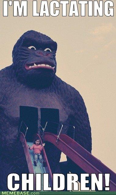 Lactating Children. . h' lloll Gorilla lactating children