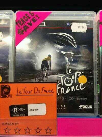 "Lance Drugstrong. Source: Imgur.. I thought it said ""Le tour le France"""
