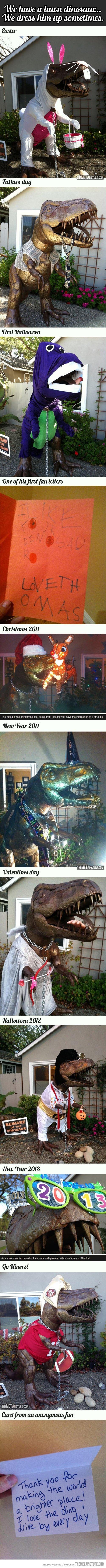 Lawn Dinosaur. . Behaved lawn dinsaur... We drew him . New 'Year era. Where does one acquire a lawn dinosaur?