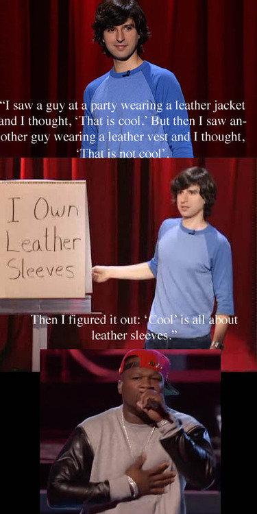 "leather sleeves. found on the web, enjoy. gr t l saw a guy at a gnd I yhomglu, ""Th!. YEAH DEMETRI MARTIN leather sleeves Demetri Martin"