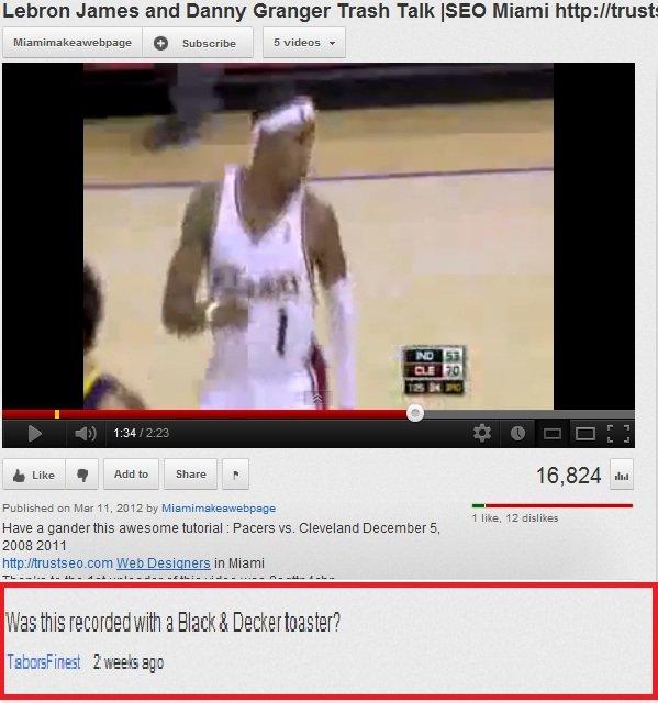 Lebron Traveled. Random Youtube comment i found www.youtube.com/watch?v=Tx3Ipgjcv00. Lemon James and Danny Granger Trash Talk EEG Miami http:// trusts E Siteid: