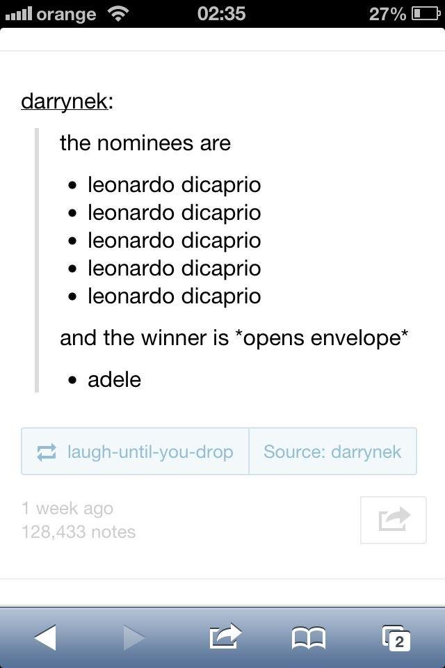 Leonardo. . the nominees are I leonardo dicaprio leonardo dicaprio leonardo dicaprio leonardo dicaprio leonardo dicaprio and the winner is 'opens envelope' I ma