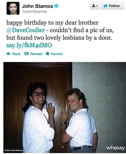 "Lesbians!. Source: Twitter. Jnhn "" l' IDA an happy birthday to my dear I' but hand two lovely lesbians by 'ittl. door. it Reply 'El: LI Favorite whosay. Damn I look good"