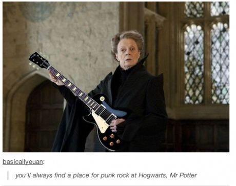 Let's headbang mr Potter. 10 points for Rockingdor. i Find a mans far punk rock Eti Mr Patter. That guitar is not punk rock. yestags
