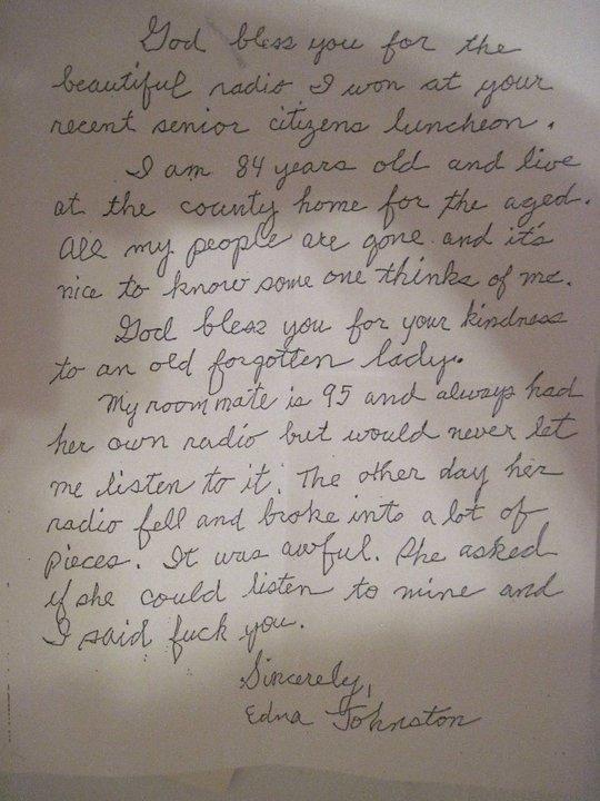letter from grandma. .