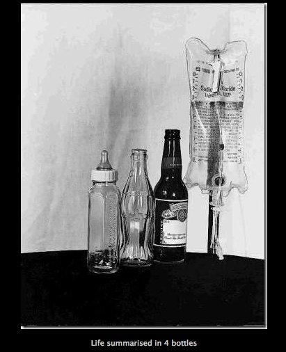 Life Summarised. . Life ' earased in P, bottles
