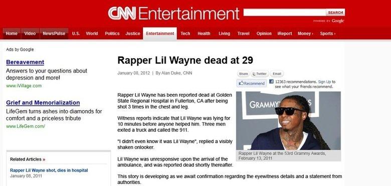 Lil Wayne dead RIP :( 2012. www.youtube.com/watch?v=5yyjGezp3XU.. finally.... lil wayne lilway