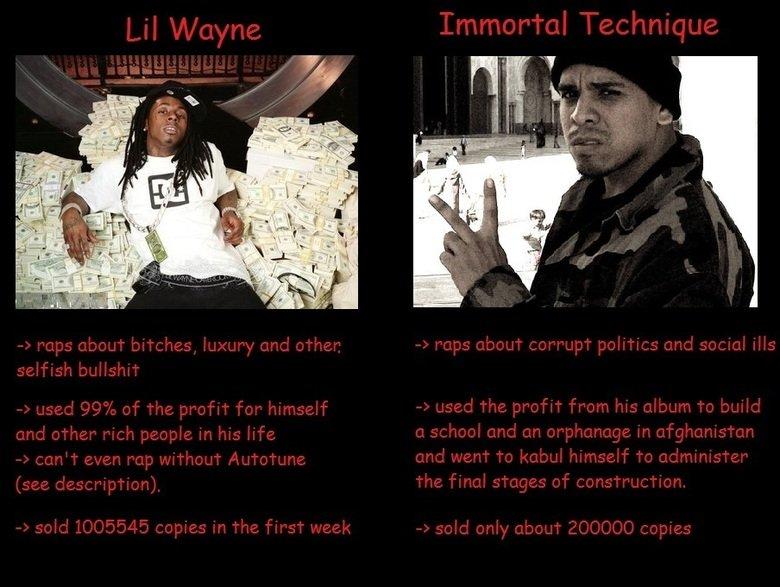 Lil wayne vs Immortal Technique. www.youtube.com/watch?v=xsyEjQ8a8XI.. Immortal Technique.... Rock version