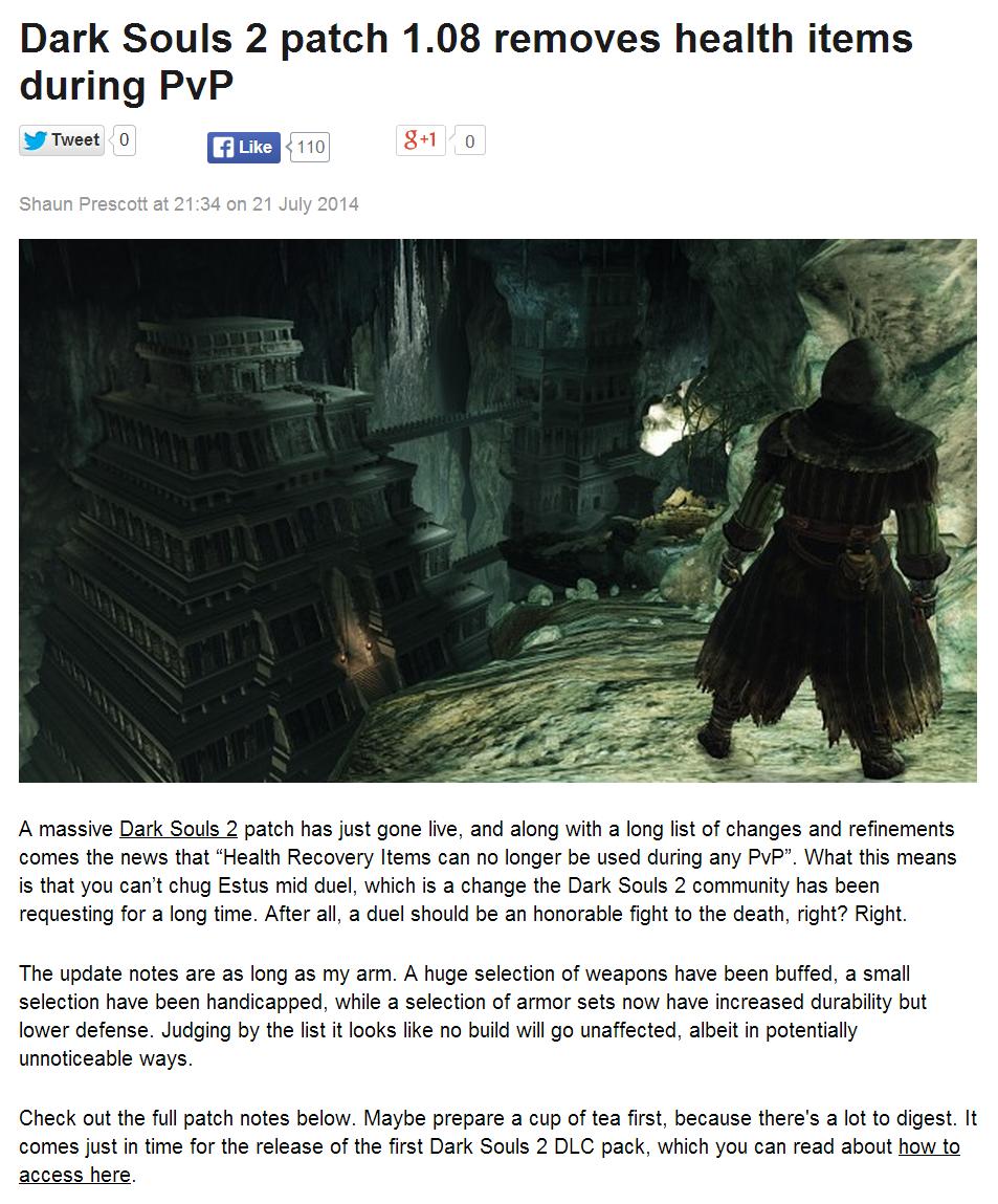 Link in description. www.pcgamer.com/2014/07/22/dark-souls-2-patch-1-08-removes-health-items-during-pvp/. Dark Souls 2 patch 1. 08 removes health items during P