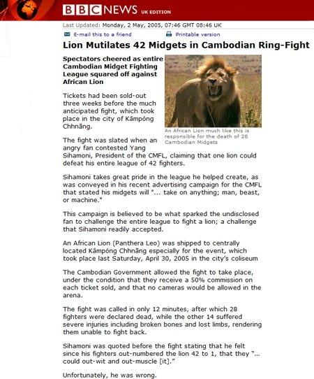 Are not Midget fighting lions